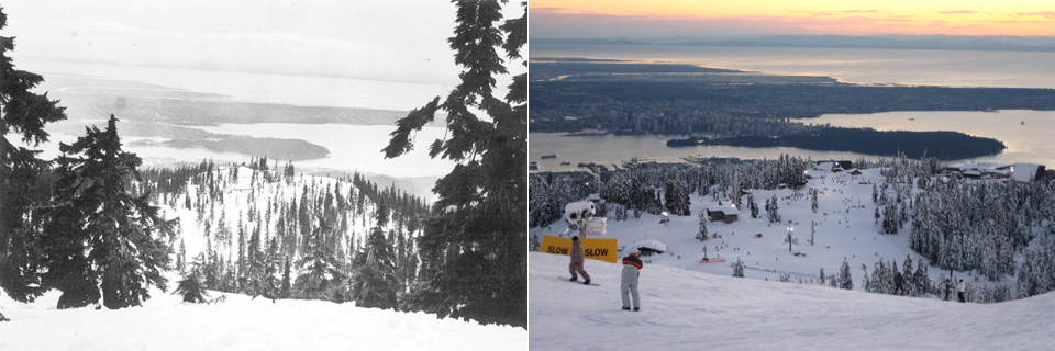 The city of Vancouver and the Salish Sea (Straits of Georgia) in the 1930s (City Vancouver Archives A-26942) and in 2008 (Travelling Lassie). An exactly located rephotograph is required.