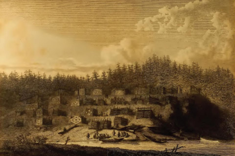 Cheslakee's Village at the mouth of the Nimpkish River, 1792 (Newberry Library).