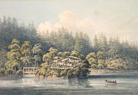 First Nations' village, Homfray Channel, June, 1792 (William Alexander watercolour from a sketch made by J. Sykes, Newberry Library Collection).